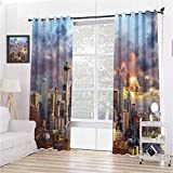 Apartment Decor Collection Room Darkened Insulation Grommet Curtain Seattle Skyline at Sunset WA USA Sun Lights Through Dramatic Clouds Scene Pattern Living Room W52 x L72 Inch Grey Blue Ivory