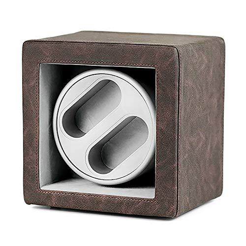 Soporte de reloj Reloj Windoer - Cuero Retro Posición Dual-Position Watch Shaker Mecanical Watch Dispositivo de giro silencioso Reloj de doble potencia del hogar Caja de almacenamiento de caja de bobi