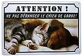 Hioni Attention Ne Pas Déranger Le Chien De Garde, Pancarte en Métal Panneau Poster Plaque Métallique Slogan Art Décor Vintage Pr Bar Café Pub