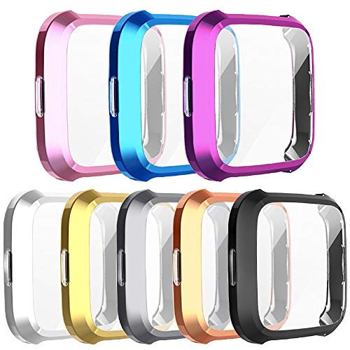 [8-Pack] Screen Protector Case Compatible with Fitbit Versa Lite,All-Around Ultra Slim Soft TPU Plated Cover Scratch-Proof Protective Bumper Shell (8 Colors, Versa lite)