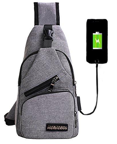 Mochila bandolera de pecho LemonGirl con cargador USB para hombres y mujeres, para senderismo, acampadas, ciclismo, hombre, XW210-Gray, gris, talla única