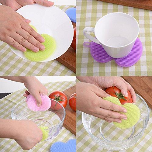 Generic morado: TTLIFE multifunción silicona suave cepillo de limpieza para lavar platos utensilios de cocina