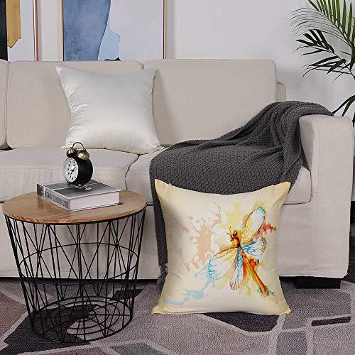 Kissenbezug 50 x 50cm Sofa Büro Dekor Kissenhülle aus Polyester,Libelle, Aquarell-Motte mit Zweig-Druckflügeln auf abstraktem Hintergrund, hellgelber Pfir,mit Verstecktem Reißverschluss - ohne Füllung