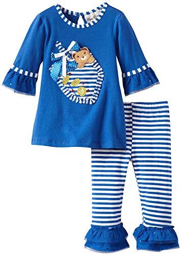 Rare Editions Size 2T-6X Blue Dreidel Hanukkah Top Legging Pant Set (2T)