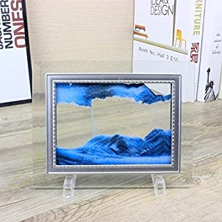 CooCu Dynamic Moving Sand Picture,Sand Art,Sandscapes Art In Motion,Desktop Art Toys,Best Gift to your friend with Gift Card(Blue) (S)