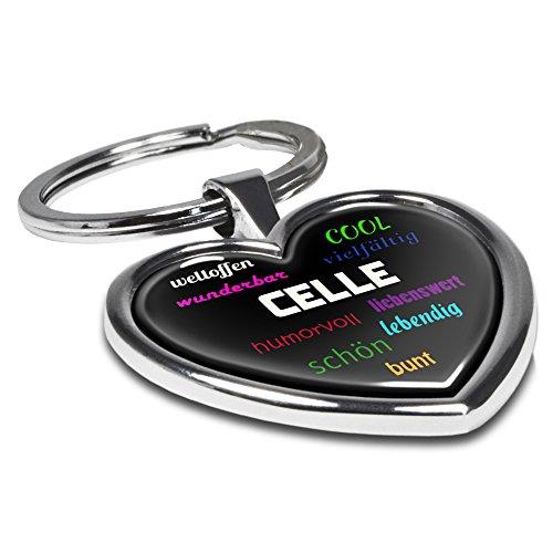 Schlüsselanhänger mit Stadtnamen Celle - Motiv Positive Eigenschaften - Herz-Schlüsselanhänger, Stadtschlüsselanhänger, personalisierter Anhänger, Herz-Anhänger, Chrom