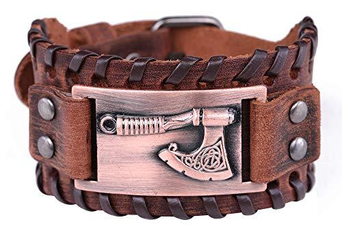 VASSAGO Amuleto Vintage Nordic Eslavic Myth Axe of Perun Irish Knot Cuff Metal Conector Pulsera de cuero marrón para hombres y mujeres