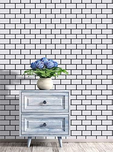 Brick Peel and Stick Wallpaper Shiplap Black White 3D Effect Brick Self Adhesive Removable Wallpaper product image