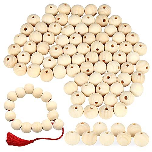 Bluelves Juego de 200 cuentas de madera redondas, naturales, redondas, espaciadores sueltos, para fabricación de joyas, decoración hecha a mano, 10 mm