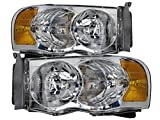 HEADLIGHTSDEPOT Headlights Compatible with Dodge Ram 1500 2500 3500 Includes Left Driver and Right Passenger Side Headlamps (Black)