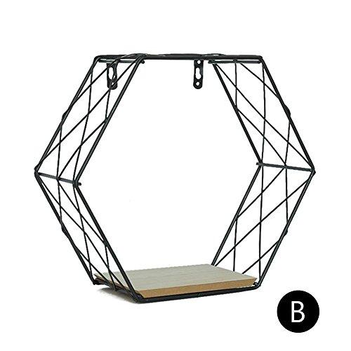 Estante hierro hexagonal rejilla pared baño, cestillo