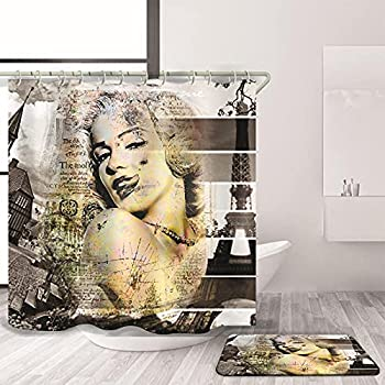 3D Marilyn Monroe Sexy Woman Shower Curtain Bath Curtain Set Fashion Bathroom Curtain Beauty Home Decor Waterproof with 12 Hooks NO MAT 36x72 Inch