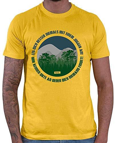 Hariz - Camiseta para hombre, diseño con texto en alemán 'Leg Dich Niemals mit Einem Jogger an Wir Kennen Orte an Denen Dich Niemand Findet Running Joggen Plus tarjeta de regalo dorado amarillo M