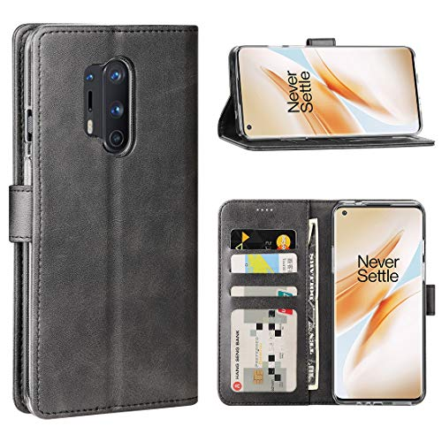 Redluckstar OnePlus 8 Pro Case, PU Leather Wallet Flip Cover [3 Card Slots 1 Money Pocket] [Magnetic Closure] [Stand] Shockproof Bumper Folio Phone Case for OnePlus 8 Pro 2020 (Black)