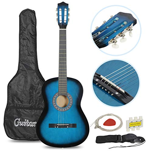 """Smartxchoices Acoustic Guitar for Starter Beginner Music Lovers Kids Gift 38"""" 6-String Folk Beginners Acoustic Guitar With Gig bag, Strap, Pitch Pipe and Pick (Blue)"""