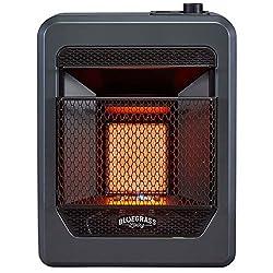Bluegrass Living B10TNIR-B Natural Vent Free Infrared Gas Space Heater with Base Feet-10,000, T-Stat Control, 10,000 BTU, Black