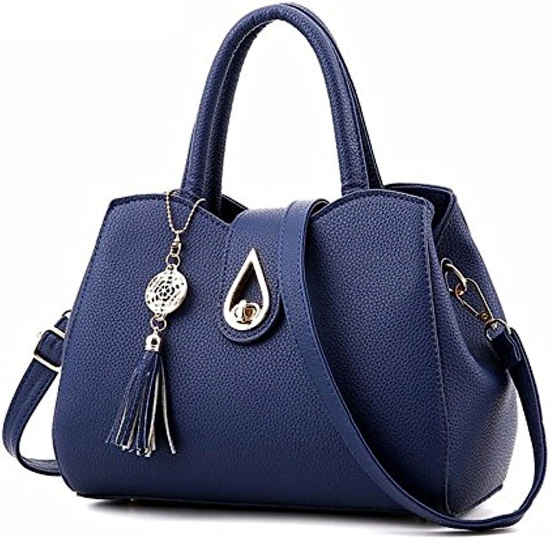 H&Y HY Damentaschen PU-Klt Knpfe Flügel Bnder Reiverschluss, Blau