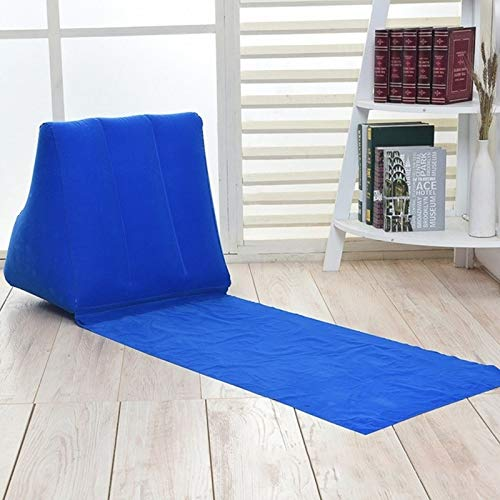 huihui Isomatte im Freien Strand PVC Thick Flocked Strand-Matte Aufblasbare Dreieck Pad, Größe: 150x38x46cm (Color : Blue)
