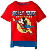 Disney Little Boys' Toddler Mickey Mouse Super Short Sleeve Cape T-Shirt, Red/Royal, 4T