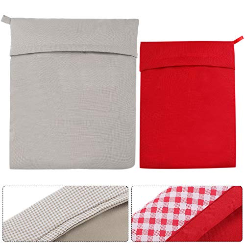 2 Pieces Microwave Potato Bags Washable Microwave Cooker Bag Reusable Baked Potato Cooker Pouch Baked Corn Cooking Pouch, Red and Gray