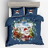 zzkds Juego de Cama 3D Santa Claus de Tres (sin sábanas) Juego de Tres Piezas Landscape Christmas 228 * 228