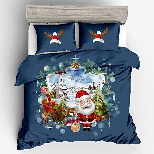 zzkds Juego de ropa de cama 3D de Regalo de Navidad de Santa Claus de tres (sin sábanas) Juego de DOS piezas Landscape Christmas 150 * 200