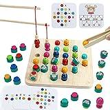 Juegos de Mesa Juguetes Madera Montessori-3 en 1 Juego de Pesca Magnético Clip Beads Memory Ajedrez Madera Juegos Montessori Educativos Juguetes Regalos para Niños Infantiles 3 4 5 6 Años Niños Niñas