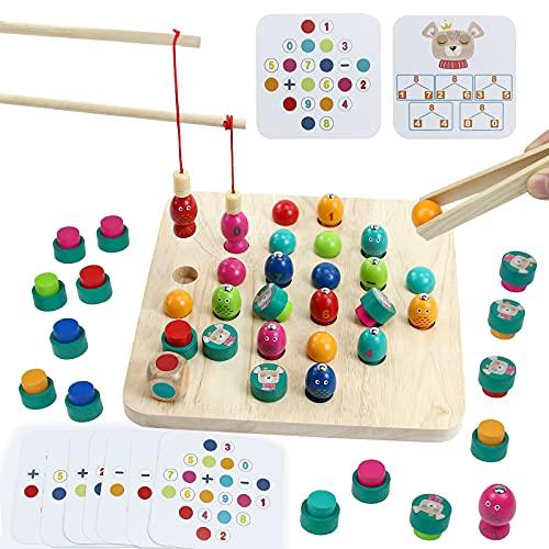 Giochi da Tavolo in Legno-3 in 1 Gioco di Pesca Magnetica Clip Perline Memory Scacchi Giochi da Tavolo Regali per Bambini,Giochi Bimbi Educativi Montessori Giocattoli per 3 4 5 6 Anni Ragazzi Ragazze