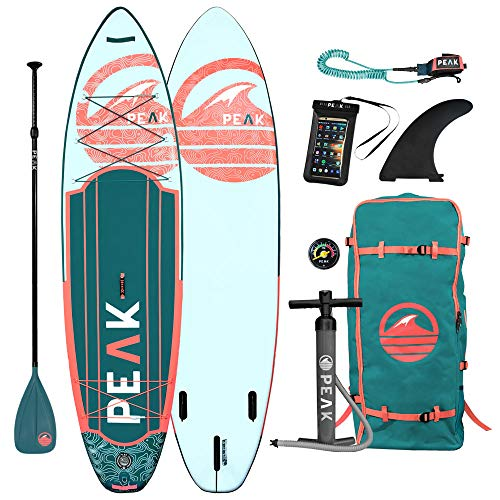 Peak Expedition Inflatable Stand Up Paddle Board — Durable Lightweight Touring SUP with Stable Wide Stance — 10'6' or 11' Long x 32' Wide x 6' Thick (Coral, 10'6')
