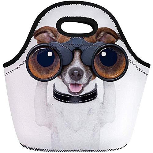 Lunch Tassen Dierlijke Witte Grappige Verrekijker Hond Zoeken Zoek en Observeren Neopreen Lunch Bag Lunchbox Tote Bag Draagbare Picknick Bag Cooler Bag
