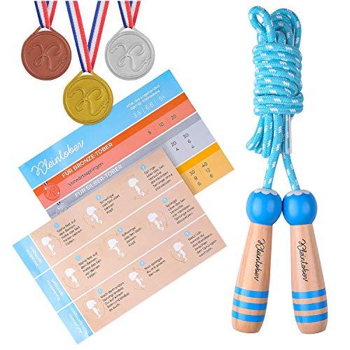 KLEINTOBER premium Springseil Kinder, hochwertiges Baumwollseil, 260cm, verstellbar, blau-weiß, mit Anleitung für Seilspringen und Medaillen für Motivation, ideal als Geschenk für Kids
