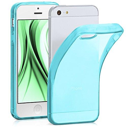 ONEFLOW Frosted Clear Silikon Hülle kompatibel mit iPhone 5S / 5 / SE (2016) Hülle Transparent | Handyhülle Durchsichtig Ultra Slim - rutschfest und Dünn, Türkis