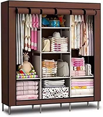 Kumaka Fabric Foldable Triple Door Collapsible Wardrobe for Clothes/Books/Office Bag and so on (Color & Designs May Vary)