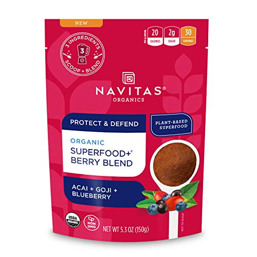 Navitas Organics Superfood+ for Immune Support (Acai + Goji + Blueberry), Bag, 30 Servings Organic, Non-GMO, Vegan, Gluten-Free, Keto & Paleo, Berry Blend, 5.3 Oz