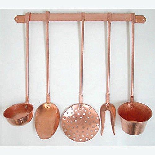 Set mestoli decorativi da cucina in rame 5 pezzi con supporto a...