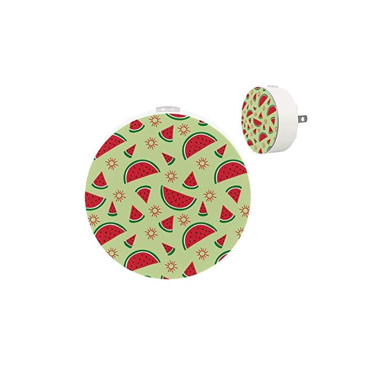 crib bedding and baby bedding 2 pack kids led night light summer watermelon pattern red green, plug-in nightlight with dusk-to-dawn sensor, soft lighting for baby breastfeeding sleep bedroom bathroom nursery home decor (2 pack)