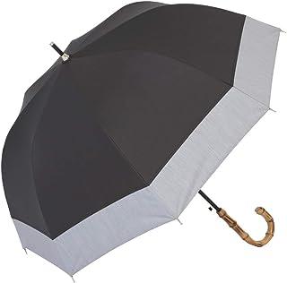 日傘 UVカット 遮熱 遮光 ジャンプ傘 晴雨兼用 遮光1級 ラミネート生地 クールプラス 【LIEBEN-1514bk】(ブラック×シャンブレーグレー)