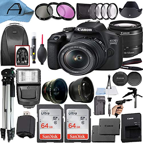 Canon EOS 2000D / Rebel T7 Digital DSLR Camera 24.1MP CMOS Sensor with 18-55mm Lens, 2 Pack SanDisk 64GB Memory Card, Backpack, Tripod, Slave Flash and A-Cell Accessory Bundle (Black)