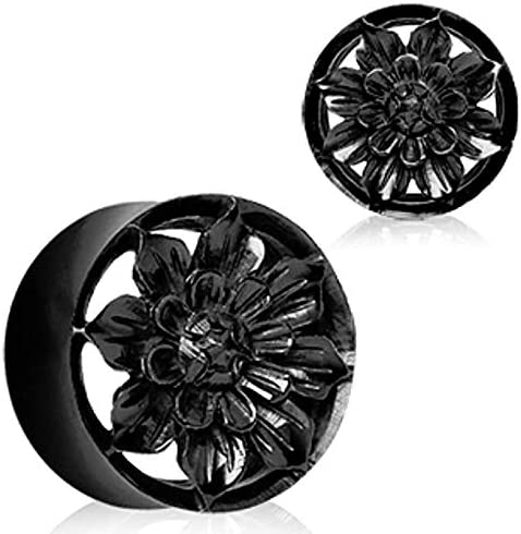 Covet Jewelry Organic Black Buffalo Horn Flesh Tunnel Plug with Carved Dahlia Flower