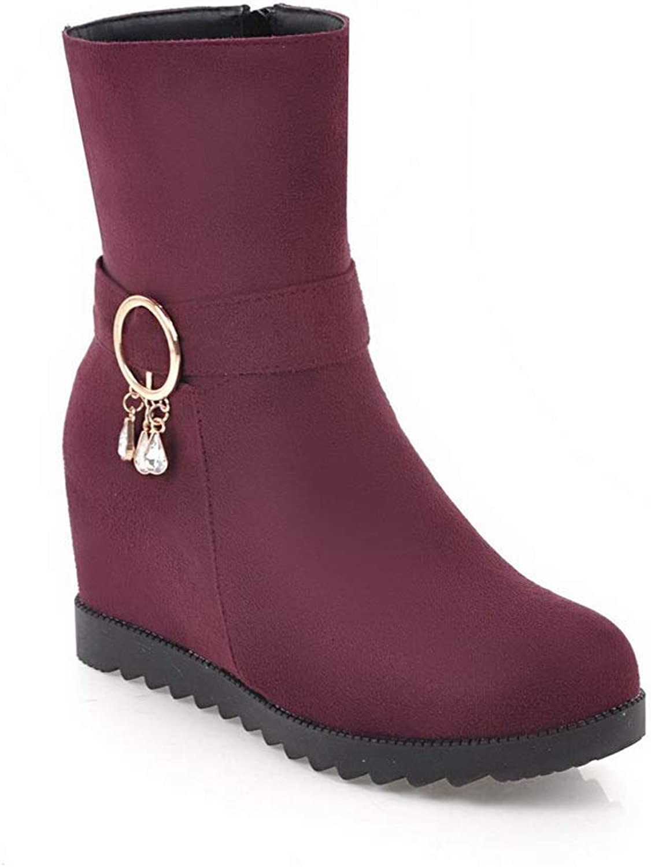 AdeeSu Womens Heighten Inside Metal Buckles Zipper Imitated Suede Boots SXC03154