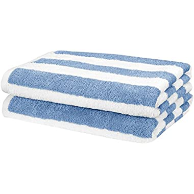 AmazonBasics Beach Towel - Cabana Stripe, Sky Blue, Pack of 2