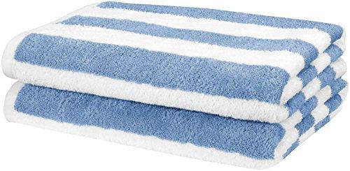 Amazon Basics - Toalla de playa, de rayas Cabana, color azul claro, pack de 2