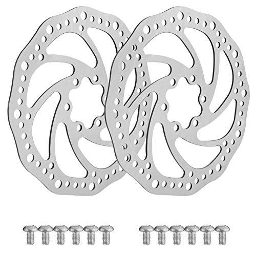 upain 160mm Fahrrad Bremsscheibe Werkzeug 2er Set Scheibenbremse Rotor aus Edelstahl Fahrrad Scheibenbremse Rotor mit 12 Schrauben fr Rennrad Mountainbike MTB BMX Fahrradzubehr Silber