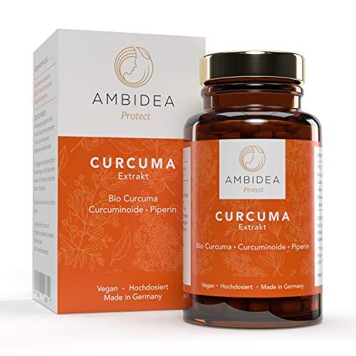 AMBIDEA® Curcuma Extrakt - 90 Kurkuma Kapseln, vegan, mit Bio Curcumin und Piperin, hohe Bioverfügbarkeit, hochdosiert 95{90c3f92fa11556053d14f2bbf4ea5619d918ec668ac0e8d908794813d01497d4} Extrakt, optimiert für tägliche Einnahme, deutsches Qualitätsprodukt