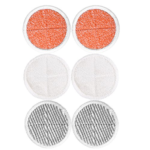 KEEPOW Mop Pads Bissell Spinwave Soft-Pads, 2 Soft Pads + 2 Scrubby Pads + 2 Heavy Scrub Pads) 6 Stück