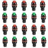 Runcci-Yun 20 Pcs Pulsador 10mm,Pulsador Electrico,Pulsador Interruptor,Pulsador Redondo,Interruptor Pulsador,Interruptor De Botón De Bloqueo,2 Colores,Rojo/Verde/(Ac 1a / 250v)