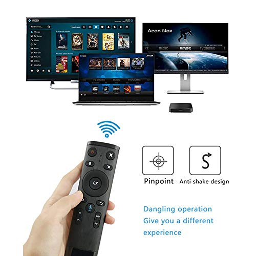 Longshow Air Mouse Remote Control - Q5 Bluetooth/2.4GHz WiFi Voice Remote Control Air Mouse with USB Receiver for Smart TV Android Box