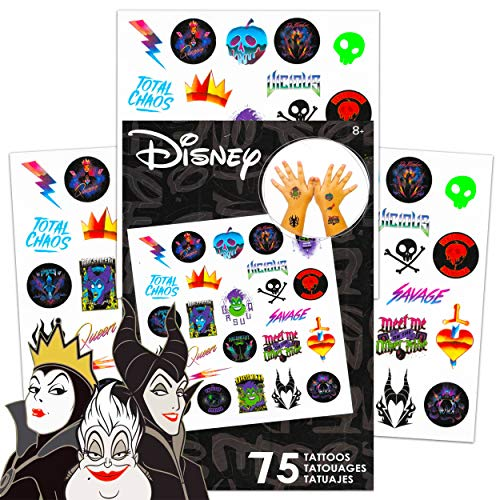 Disney Villains Tattoos Party Favors Pack ~ Bundle Includes 75 Disney Villains Temporary Tattoos Featuring Maleficent and More (Disney Villains Party Supplies)