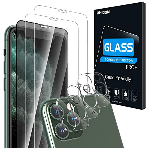 Rhidon【6 Pack】2 Pack Clear + 1 Pack Privacy Tempered Glass Screen Protector + 3 Pack Tempered Glass Camera Lens Screen Protector for iPhone 11 Pro Max (6.5''), Anti Glare/Spy/Scratch HD Bubble Free