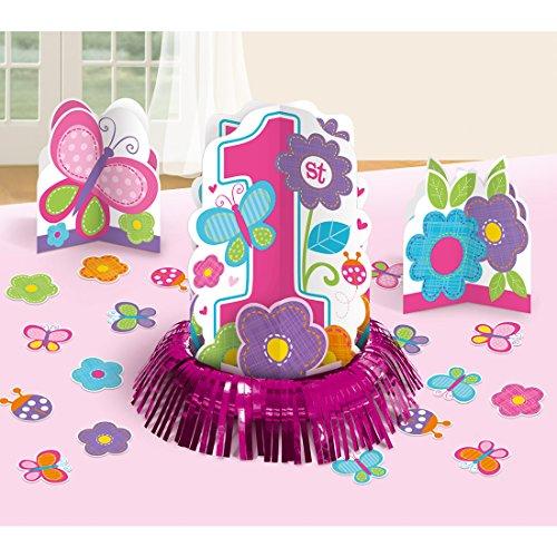 NET TOYS Décoration de Table 1er Anniversaire | Set avec confettis et Trois présentoirs | Embellissement Anniversaire 1 an | Déco de fête d'enfant